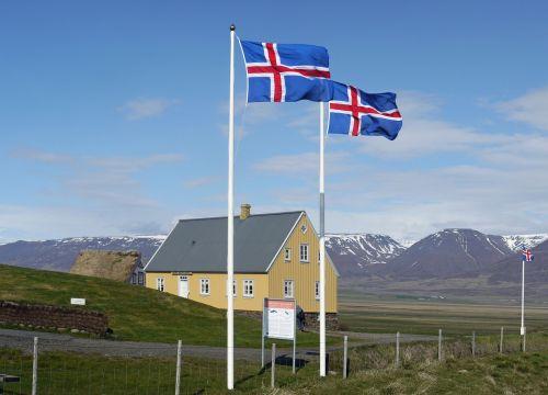 iceland,vėliavos,iceland flag,glaumbaer,muziejus,platus,kelionė