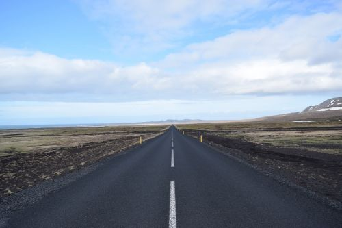 iceland straight road lonely