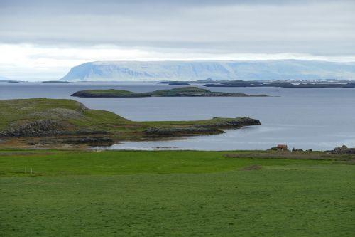 iceland,kraštovaizdis,gamta,vanduo,jūra,атлантический,kalnai,Žemdirbystė,pieva,perspektyva