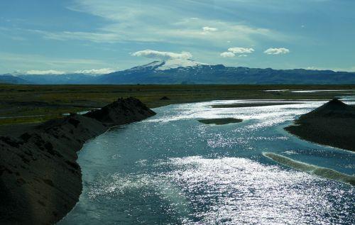 iceland,upė,atgal šviesa,kalnai,gamta,kraštovaizdis,upė ledynas