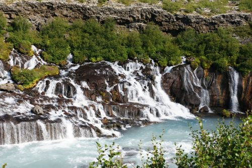 hraunfossar waterfall iceland waterfall