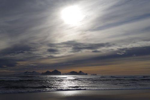 iceland southern shoreline sunset