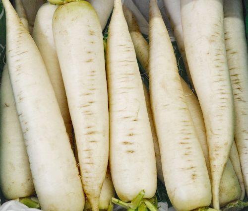 icicle radishes vegetables white