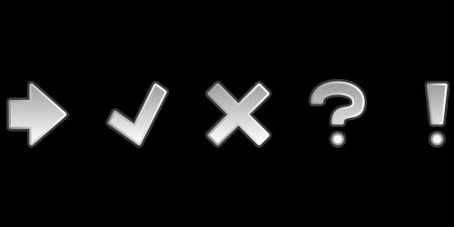 icon set arrow exclamation mark