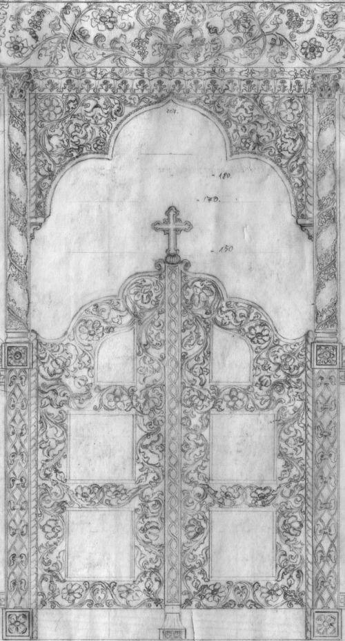 ikonostasas,ikonostaso aukuras,aukuro durys,bažnyčios durys,bažnyčia,įvestis,architektūra,tikslas,medinės durys,portalas,medžio drožinėjimas,ornamentas,durys,arka,drožyba,papuoštas,frize,krikščionis,katalikų,graikų ortodoksų,ortodoksas,palengvėjimas,papuoštas portalas,eskizas,piešimas,pieštuko pieštukas,juoda ir balta