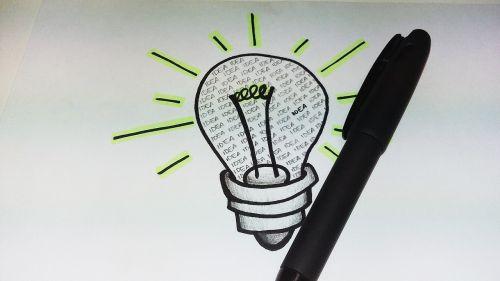 idėja,rašiklis,lemputė,piešimas