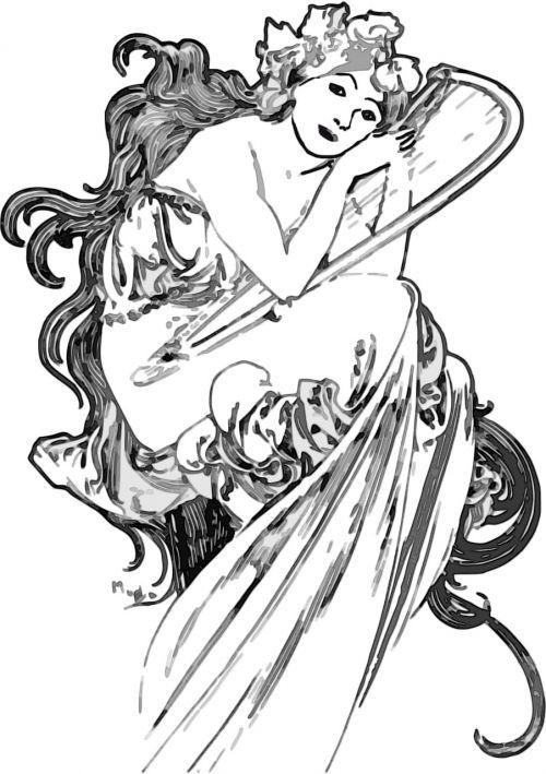 illustration woman vintage
