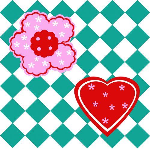 illustration flowers squares