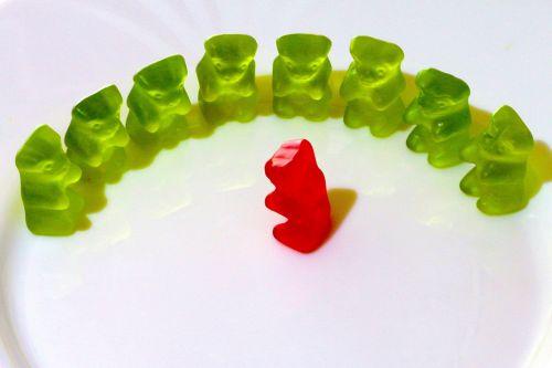 in a semicircle gummi bears fruit jelly