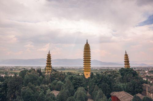 in yunnan province three pagodas light