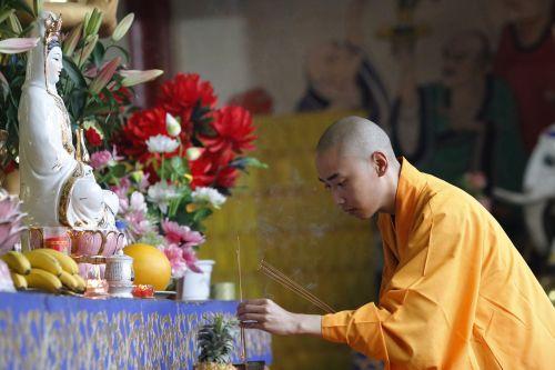 incense respectfully monks