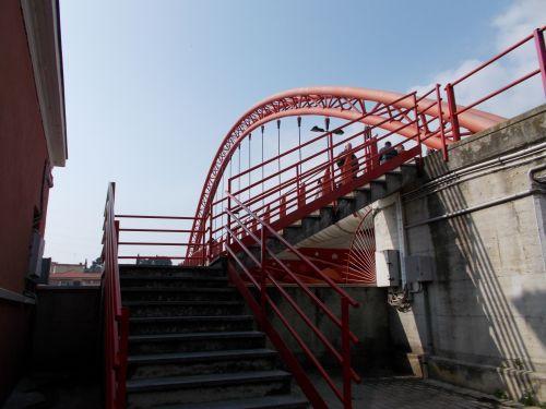 metalas, raudona, rūdys, linijos, lankas, sankryžos, parapet, tiltas, kopėčios, šešėliai, turėklai, metalinės sankryžos