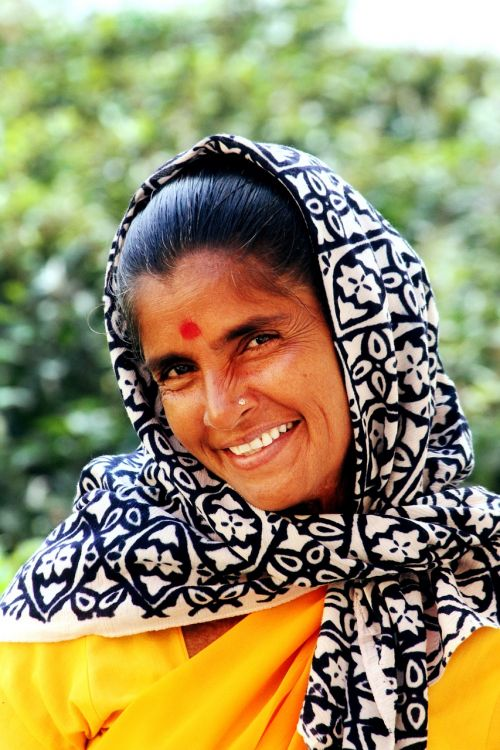 Indija,ponia,šypsena