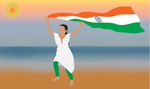 indian flag,flag,india,national,country,nation,india flag,republic,independence,banner,august,holiday,january,tricolor,freedom,democracy,government,peace,nationality,girl running with flag,girl running with indian flag