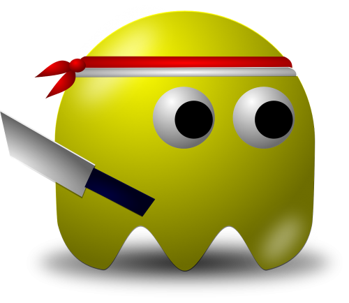 indonesian,warrior,pacman,pac-man,cartoon,free vector graphics