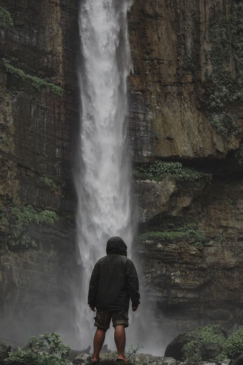 indonesian waterfall fog