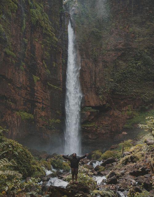 indonesian fog waterfall