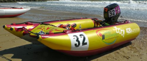 Inflatable Powerboat On The Beach