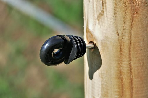 insulator  wooden posts  pasture fence