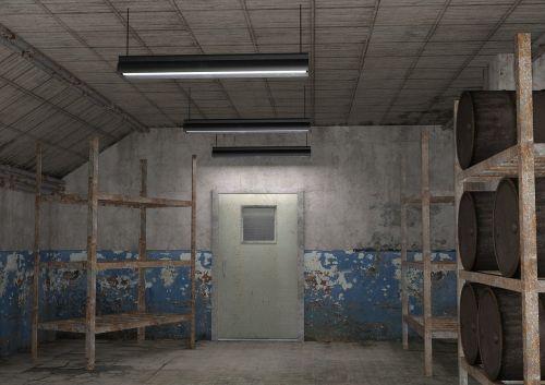 interior industrial room barrels