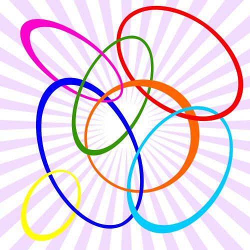 abstraktus, fonas, blokavimas, ovalus, formos, spalvos, juostelės, violetinė, raudona, geltona, oranžinė, mėlynas, turkis, žalias, logotipas, verslas, nuorodos, susiejimas, susietas, kartu, kartu, blokuojantys ovalai