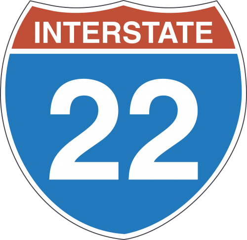interstate 22 sign