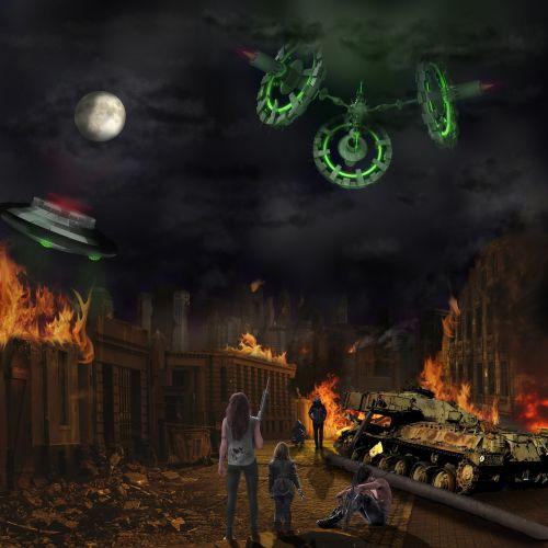 invasion spaceship fire