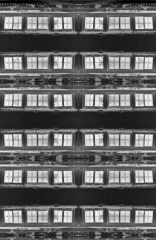 langai, pakartoti, juoda, balta, apversti juodi ir balti langai