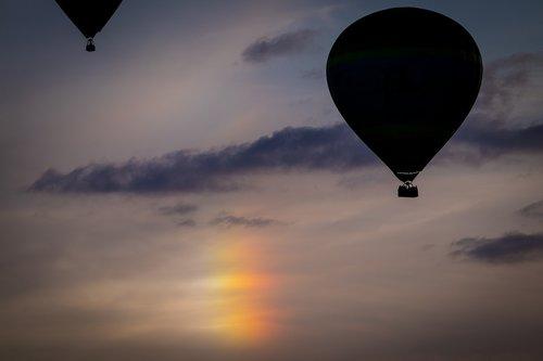 iridescent cloud  hot air balloon  montgolfiade