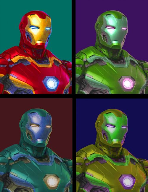 iron man pop art image divided in 4