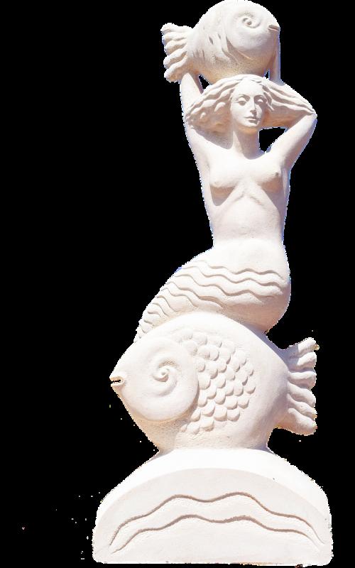 isolated mermaid sculpture