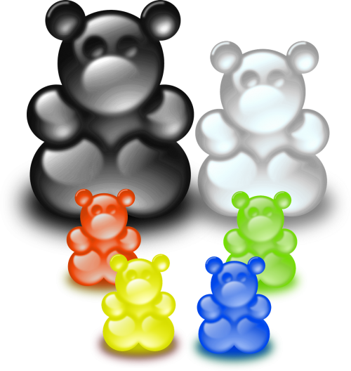 isolated bear family gummibärchen