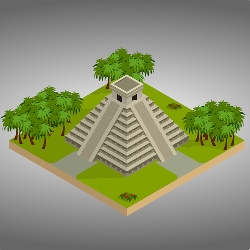 isometric  chichen itza  mexico