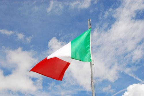 italian flag,sky,clouds,blue,italy,tricolor