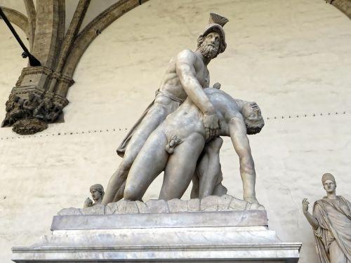 italy,Florencija,Palazzo vecchio,logia dei lanzi,menelius ir patroklus,giambologna,statula,menas,Signoria aikštė,Toskana,paminklas