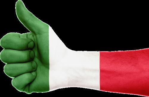italy flag hand