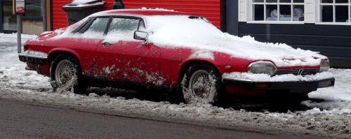 Jaguar XJS Car In Snow
