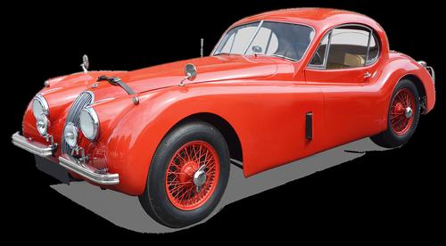 jaguar xk 140  coupe  vintage carr filament red