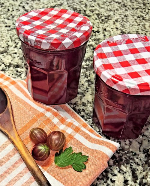 jam red gooseberries fruits