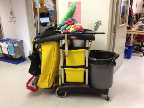 janitor cart cleaning