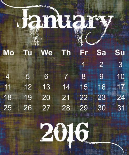 January 2016 Grunge Calendar