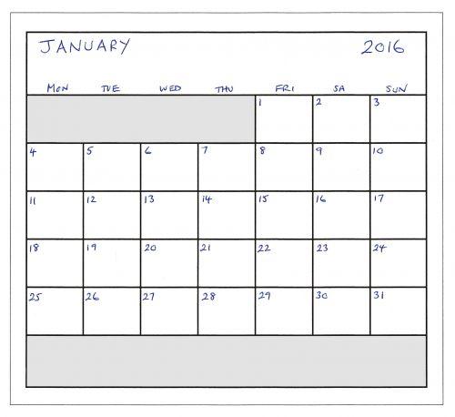 January 2016 Planner