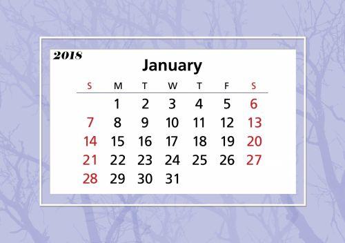January 2018 Calendar Frame