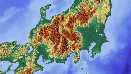 Japonija,Tokyo,fuji,žemėlapis,reljefo žemėlapis,kalnas,ugnikalniai,sala,skyrius,kartenausschnitt,aukščio profilis,aukščio struktūra,spalva,kartografija,mercatoriaus projekcija,atspalvis,aukštumos žemėlapis,didelis reljefas,didelio reljefo žemėlapis,topografija,topografinis žemėlapis,fudschi,Honshu,japonų širdis,širdis