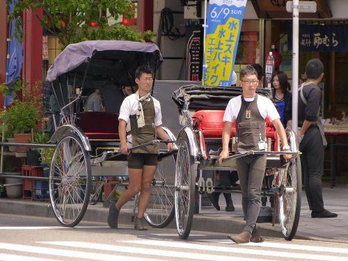 japan,tokyo,asakusa,jinrikisha,rickshaw,town,pulling,transportation,wheels,tyres,men,carry,road