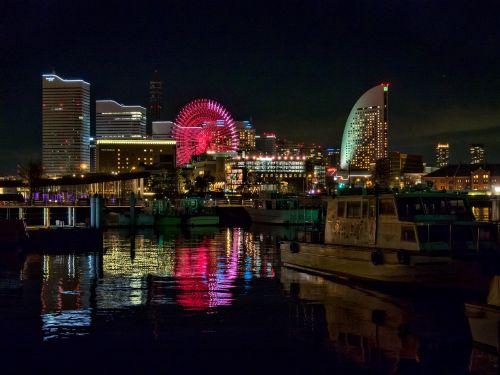 Japonija,naktinis vaizdas,Jokohama,naktis