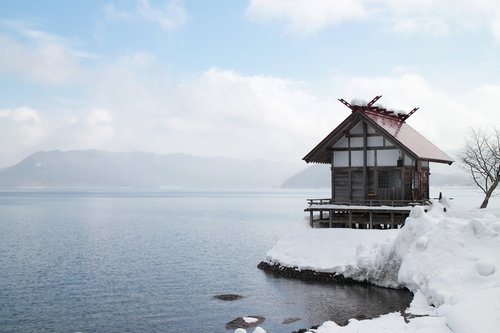 japan  akita  lake winter