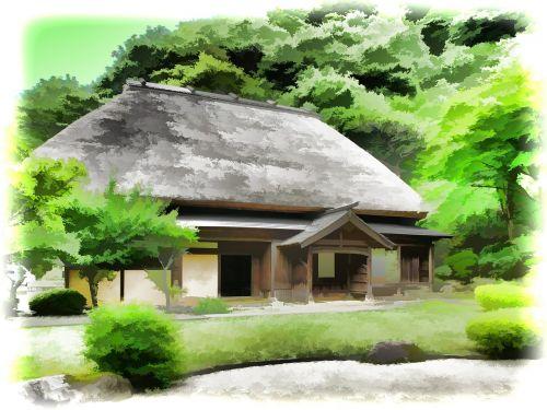 japan rural houses straw