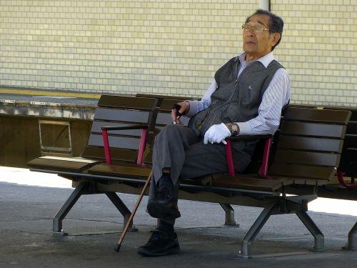 japanese old man sitting