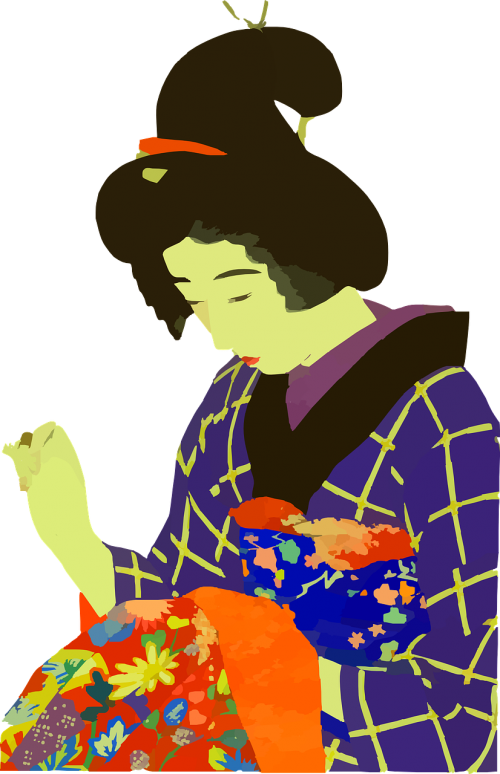 japanese woman sewing